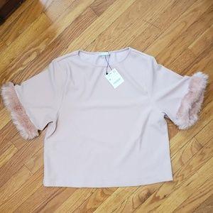 Zara Faux Fur Blouse in Pink Blush NWT Medium